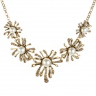 Retro Elegant Flower Alloy Pearl Diamond Necklace for Women - Golden + White