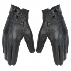 Elegant Lady's Wool + Leather Hands-Warmer Gloves for Touch Screen Device - Black (1 Pair)