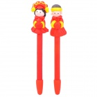 Cute Chinese Tradition Bride & Groom Style Soft Ceramic Ball-Point Pens - Red + Yellow (2 PCS)