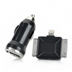 Car Charger + 8-Pin Lightning / 30-Pin Adapter + Micro USB Data/Charging Cable for iPhone - Black