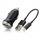 USB to 8pin Lightning Adapter Cable w/ USB Car Charger - Black (10cm)
