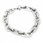 "Gothic ""8"" Shape Surgical Stainless Steel Bracelet for Men - Silver"