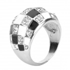 Albronze Zircon Magic Square Finger Ring - Black + Silver (US10)