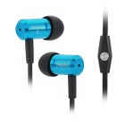 wallytech WHF-110 Stylish In-Ear Stereo Earphones w/ Microphone for Iphone 5 - Blue + Black