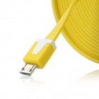 Flat USB Charging Cable w/ Micro USB V8 Port for Samsung / HTC - Yellow (300CM)