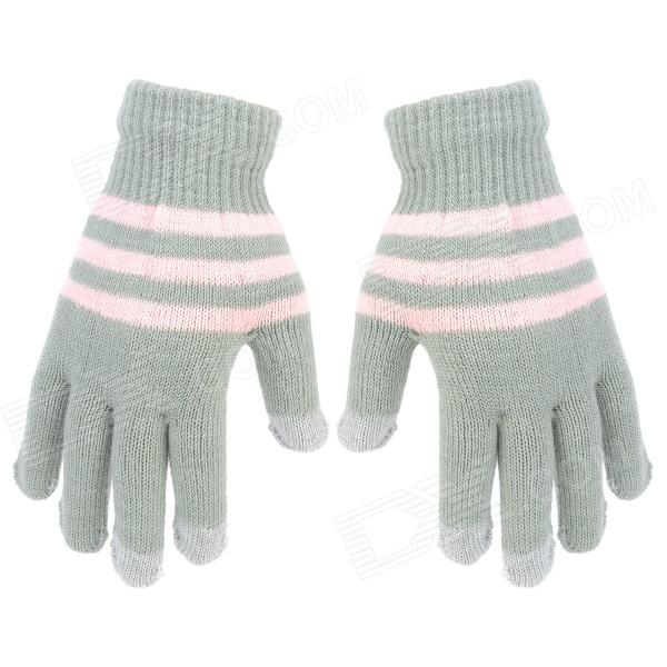 Fashion Touch Screen Warm Gloves for Women - Grey + Pink (Pair)