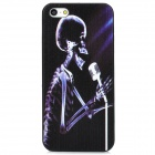 Skull Singing before Microphone Pattern PC Back Case for Iphone 5 - Black + Purple