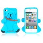 3D Bear Pattern Silicone Back Case for iPhone 4 / 4S - Blue + Brown + Black