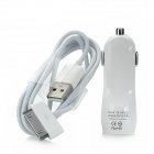 YXT-091 Car Charging Adapter Charger + 30-Pin USB Cable for iPhone - White