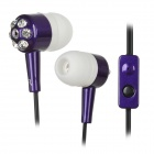 Retractable DBB In-Ear Earphone w/ Microphone / Clip - Purple + Black (3.5mm Plug / 100cm-Cable)