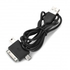 3-in-1 USB to 30-Pin / Mini USB / Micro USB Charging / Data Cable for iPhone 4 / 4S - Black (1m)