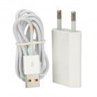 AC Power Adapter + USB to 8-Pin Lightning Charging / Data Cable for iPhone 5 - White (EU Plug)
