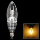 Kerzenform E14 3W 300lm 3300K 6-SMD 5630 LED Warm Light Bulb - Silver (AC 110 ~ 250V)