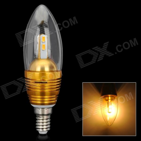 Candle Shape E14 3W 300lm 3300K 6-SMD 5630 LED Warm Light Bulb - Golden (AC 110~250V)