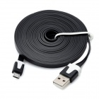 Flat USB Charging Cable w/ Micro USB V8 Port for Samsung / HTC - Black (300CM)