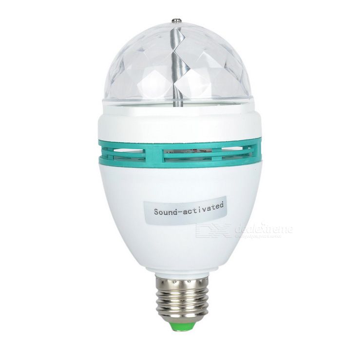 E27 9W 760lm 1-LED RGB Light Sound-Activated Rotating Stage Bulb - White + Turquoise (AC 110~250V)