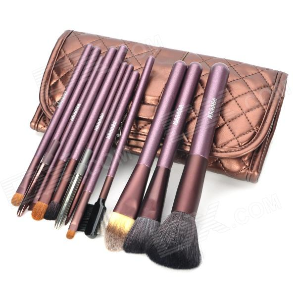 MEGAGA 114-7# Professional 12-in-1 Cosmetic Makeup Brush Set w/ PU Case - Brown professional 7 in 1 cosmetic makeup brush set w strapped case deep golden