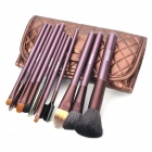 MEGAGA 114-7# Professional 12-in-1 Cosmetic Makeup Brush Set w/ PU Case - Brown