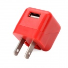 ZY-1100 USB US Plug Power Adapter - Red (100-240V)