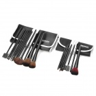 MEGAGA 310-2# Professional 12-in-1 Cosmetic Makeup Brush Set w/ 7-Brush + PU Case - Black