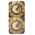 Retro Double Clock Pattern Protective Case for Iphone 5 - Brown