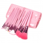 MEGAGA 325-3# Professional 18-in-1 Cosmetic Makeup Brush Set w/ PU Case - Pink
