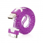 Zebra Grain USB 2.0 Stecker zu Apple 30-Pin Flach Lade-/ Datenkabel - Purple + Weiß (100cm)