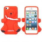 3D Cute Bear Style Silicone Back Case for iPhone 5 - Red + Black + White