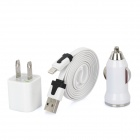 USB US Plug Power Adapter + USB Car Charger + USB to 8pin Lightning Cable - White