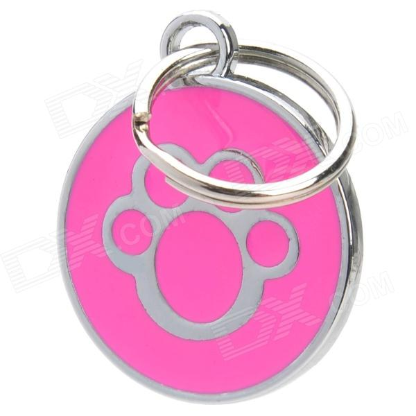 Paw Footprint Pattern Mental Pet ID Tag for Dogs - Deep Pink