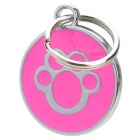 Paw Footprint Pattern Metal Pet ID Tag for Dogs - Deep Pink