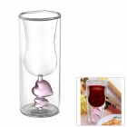 BZ-305 Dual Love Heart Toast Double-Walled Red Wine Glass Cup - Transparent