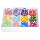 Cute Round Shape Colorful Scented Candle w/ Shiny Sequins - Multicolored (12 PCS)