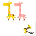 Cute Deer Style Silicone Earphone Cable Winder - Pink + Yellow (2 PCS)