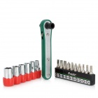 Pro'sKit 1PK-202A 16-in-1 Offset Ratchet & Socket Screwdriver Set - Green