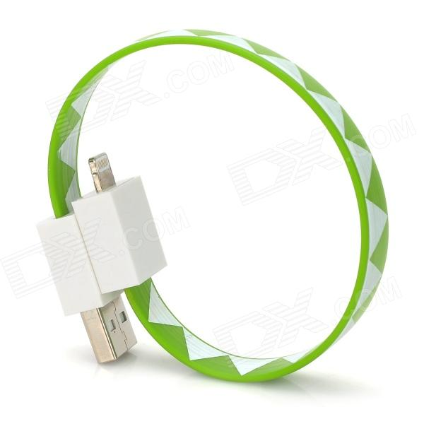 Bracelet Style Zigzag Pattern USB to 8pin Lightning Data Charging Flat Cable - Green + White