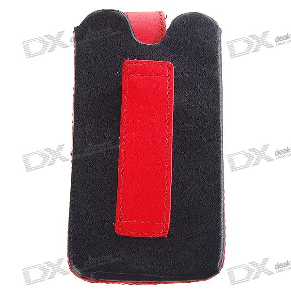 Leather Protective Case for Iphone 3g (Black + Red)