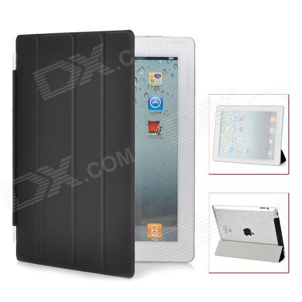 Protective PU Leather Smart Cover for iPad 4 - Black
