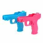 Plastic Motion Plus Function Laser Gun for Wii Remote - Blue + Pink (Pair)