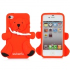 Bear Style Protective Epoxy Back Case for iPhone 4 / 4S - Red + Black + White
