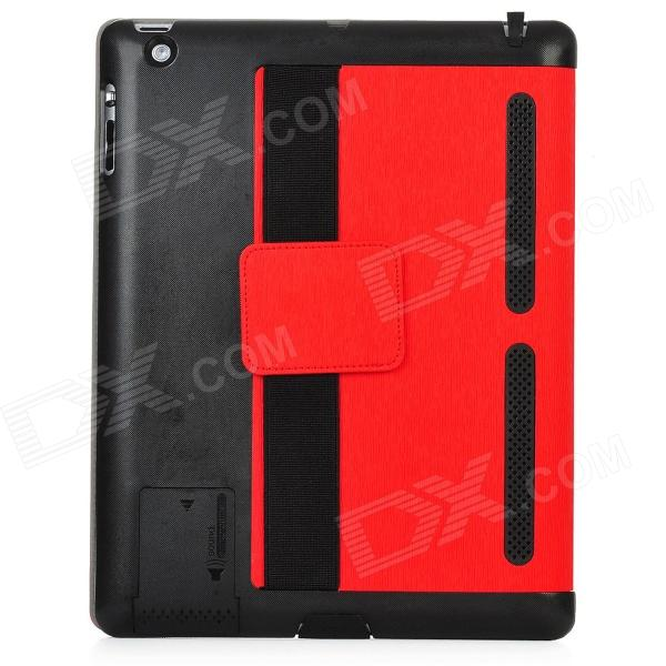 001 Protective PU Leather Case for Ipad 2 / 3 + The New Ipad - Red + Black pannovo waterproof pu leather extra thick anti shock eva case for gopro hero 4 3 3 2 sj4000