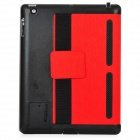 001 Protective PU Leather Case w/ Smart Cover for iPad 2 / 3 + The New iPad - Red + Black
