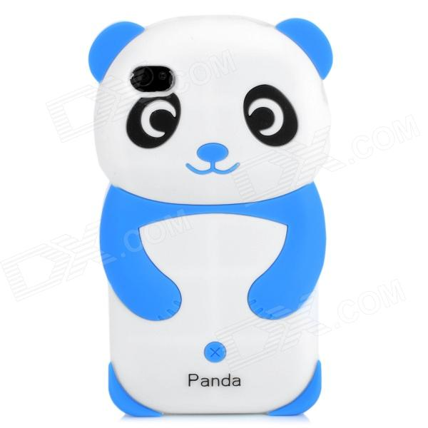 Cite Panda Style Protective Silicone Back Case for Iphone 4 / 4S - White + Black + Blue protective silicone case for nds lite translucent white