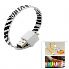 Bracelet Style Zebra-stripe Flat USB to 8pin Lightning Data Charging Cable - Black + White