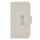 Stripe Pattern Protective PU Leather Flip-Open Case w/ Buckle + Card Slot for iPhone 5 - Beige