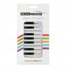 Protective Piano Keyboard Style Front + Back Skin Sticker for iPhone 4S / iPhone 4 - White + Black