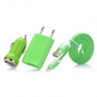 USB to 8pin Lightning Cable + USB Car Charger + USB EU Plug Power Adapter Set - Green