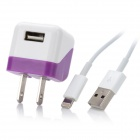 USB to 8pin Lightning Cable + USB US Plug Power Adapter for iPhone 5 - Purple + White
