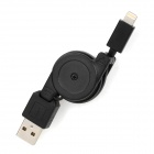 Retractable USB Data / Charging 8-Pin Lightning Cable for iPhone 5 - Black