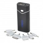 ± POWER-MP-F2 Tragbare 4400mAh Energien-Bank w / 6 Adapter für iPhone 4 / Samsung - Schwarz